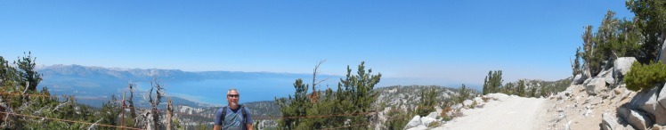 There is a slight haze you can see over Lake Tahoe, it's from a wild fire that was burning south of Tahoe.