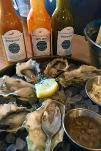 Saltwater restaurant, oysters and house made sauces